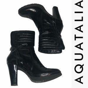 Aquatalia Black Patent Leather MidCalf Boots 8